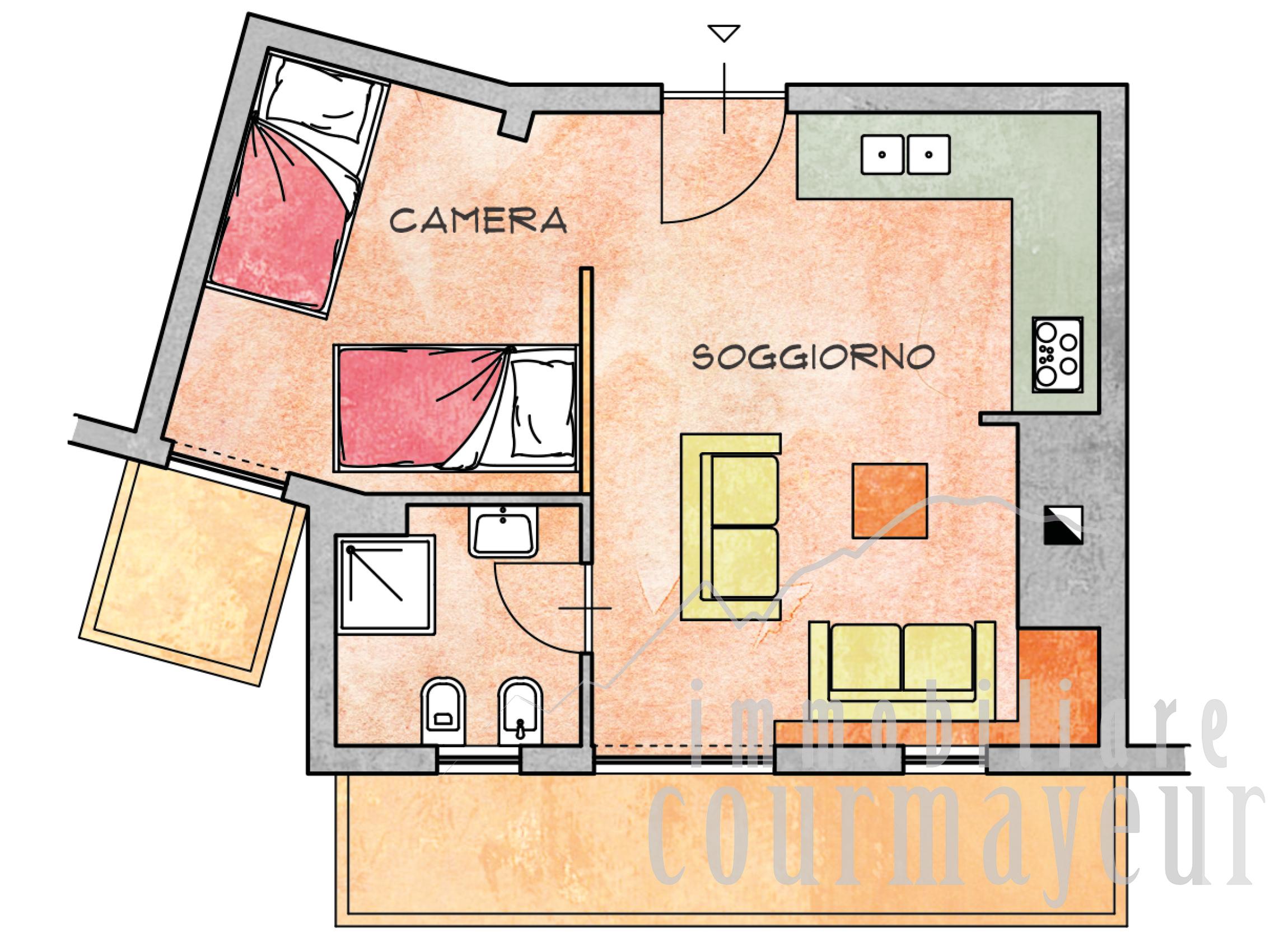 courmayeur plan gorret monolocale 40 mq planimetria - immobiliare